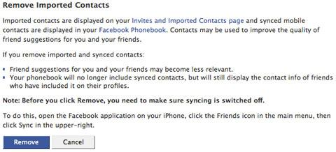 fb removecontacts